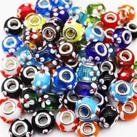 10pcs wholesale color flower lampwork clear glass murano spacer beads fit pandora bracelet for women jewelry making gift craft