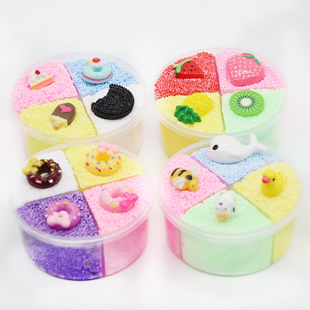 Four-color decompression clay does not mix color snow rice slime crystal mud decompression toy children decompression clay toyX5 недорого