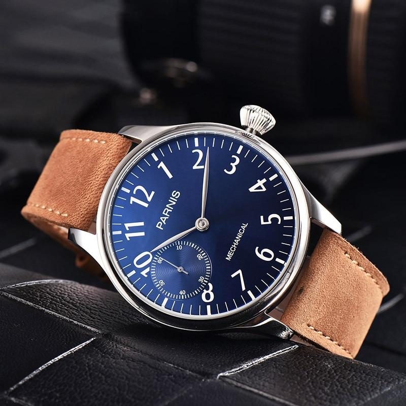 موضة بارنيس 44 مللي متر حاوية من الفولاذ المقاوم للصدأ الميكانيكية اليد لف الرجال ساعة جلدية حزام 17 مجوهرات ساعة اليد مع صندوق هدية 2021