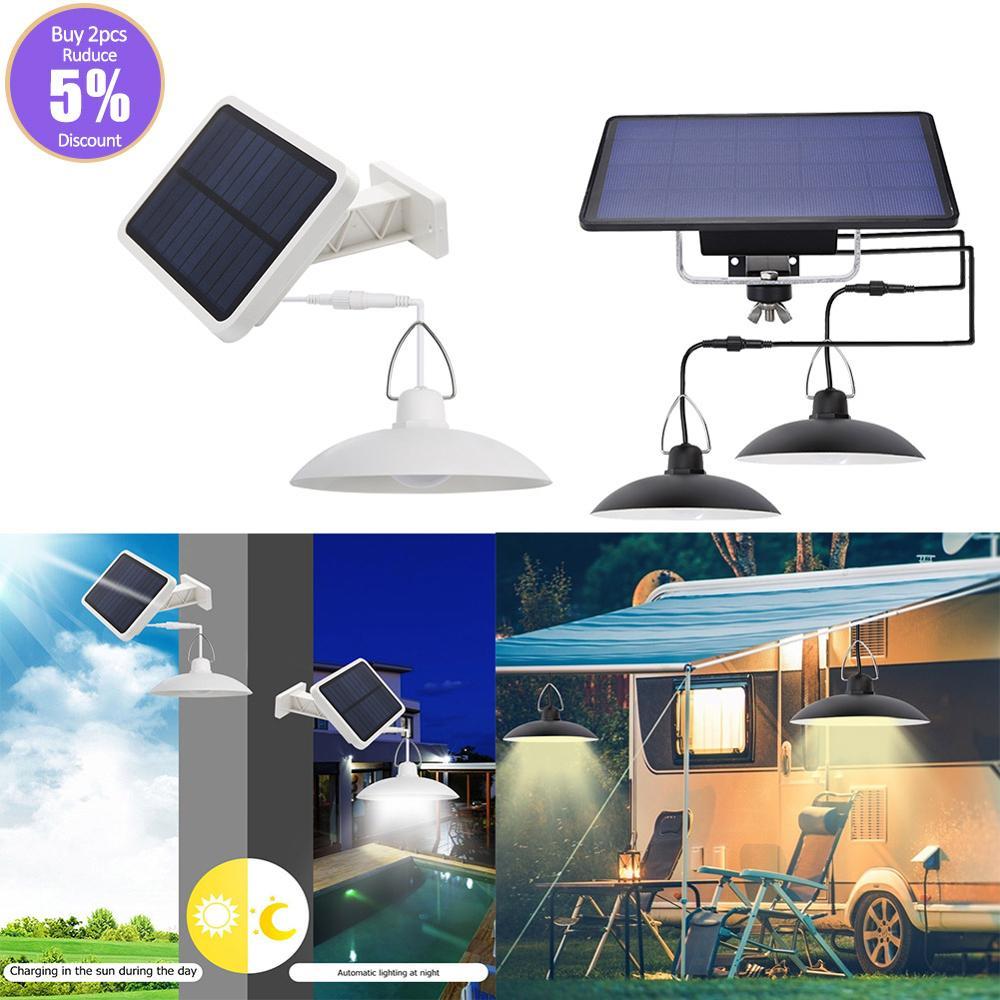 Outdoor Double Head Solar LED Split Pendant Light Waterproof Garden Yard Lamp Transparent Solar Copper Bulb Chandelier