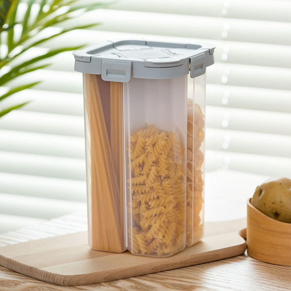 2300ML 4 rejillas contenedor de alimentos separado nueces grano seco botella para almacenamiento de alimentos cocina caja para contenedores sellado impermeable
