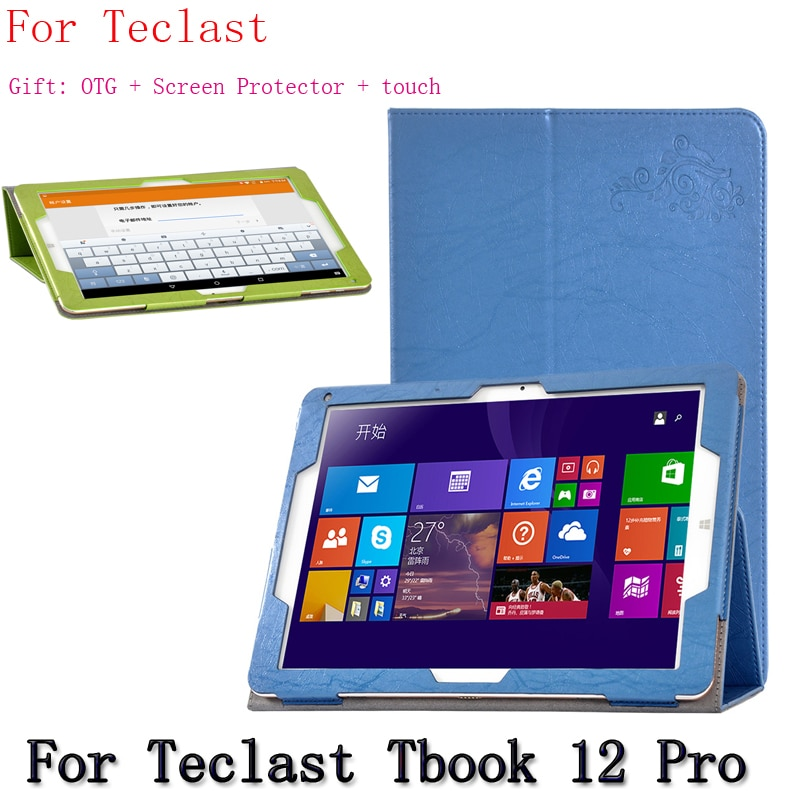 support Tablet Leather Case Stand For Teclast Tbook 12 Pro 12.2-inch clamshell for tablet PU Protective Shell +gift