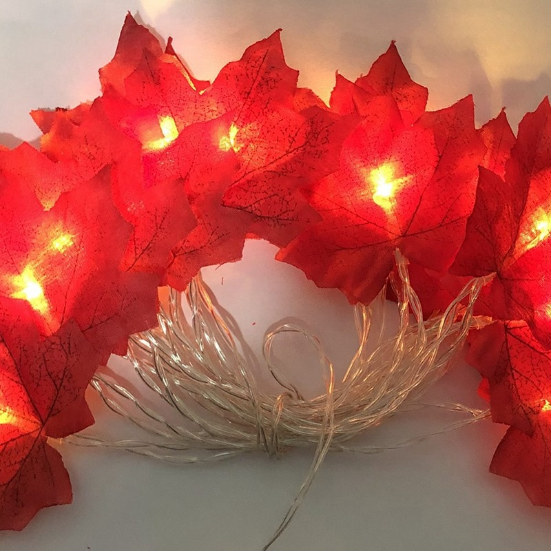 10 LED Canadian Maple Leaves Light Fall Garland String Halloween Decoration Colorful Lights For Christmas Decor