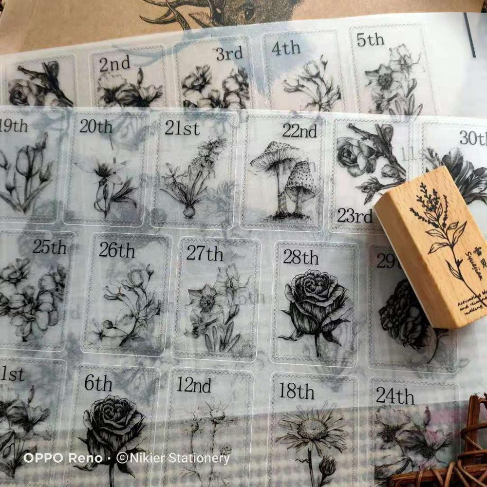 62 листа, винтажные Декоративные наклейки для цветов и календарей, дневник, план скрапбукинга, стикер для канцелярских товаров