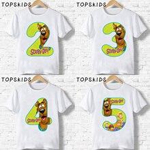 2020 Scooby Doo Cartoon enfants vêtements bébé garçons joyeux anniversaire numéro 1 ~ 9 chien drôle T-shirt filles T-shirt cadeau pour enfants, HKP2427