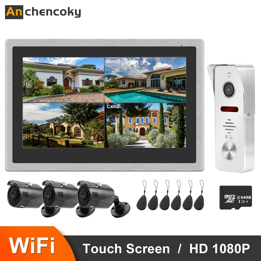 Anchcryptoky-هاتف فيديو wi-fi ، 10 بوصات ، هاتف باب فيديو IP بدقة 1080 بكسل ، 3 كاميرات ، مستشعر حركة للمنزل
