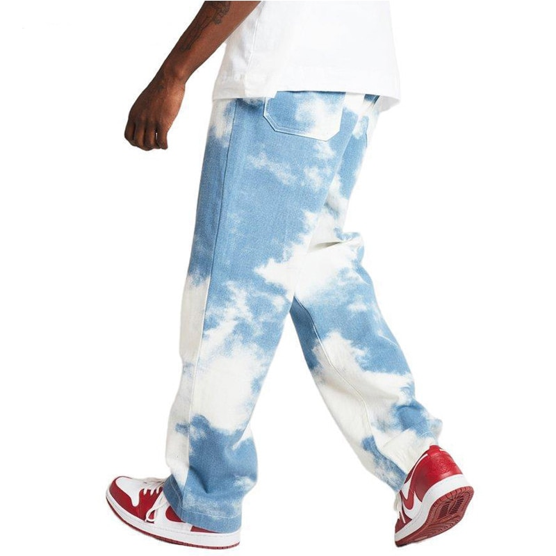 Джинсы мужские с прямыми штанинами, небесно-голубые брюки из денима, брюки-багги с прямыми штанинами, мягкие удобные брюки Чино в стиле хип-х...