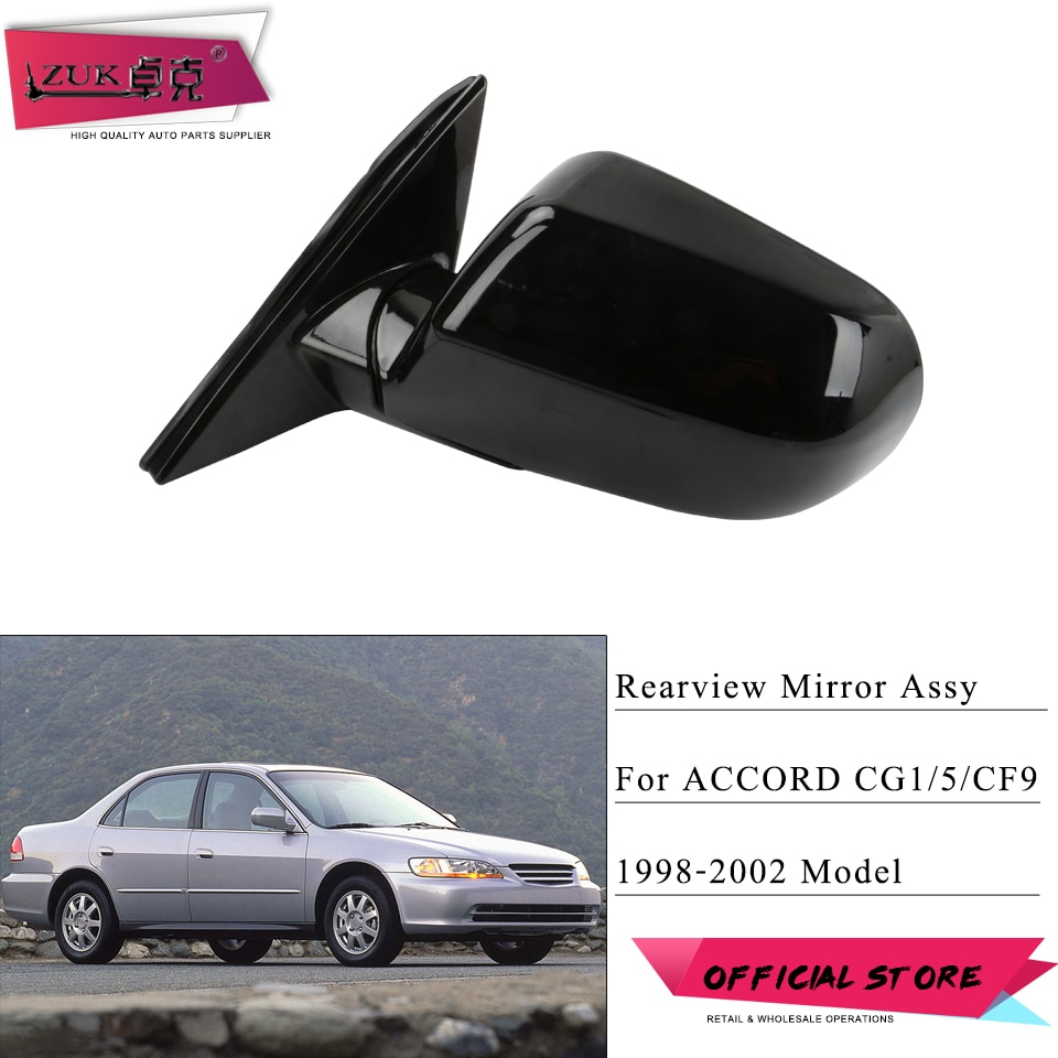 ZUK, montaje externo para espejo retrovisor de puerta de coche para HONDA ACCORD 1998 1999 2000 2001 2002 CF9 CG1 CG5, 3 pines de Color negro