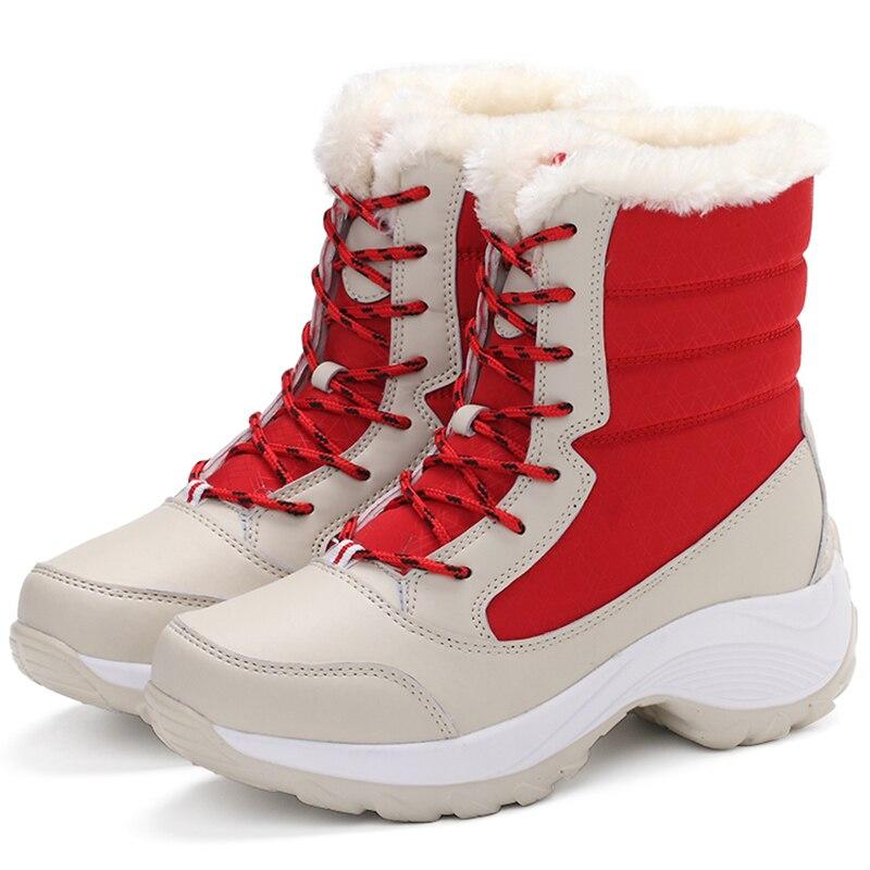 Botas de nieve muy cálidas para Mujer, zapatos de media pantorrilla con...