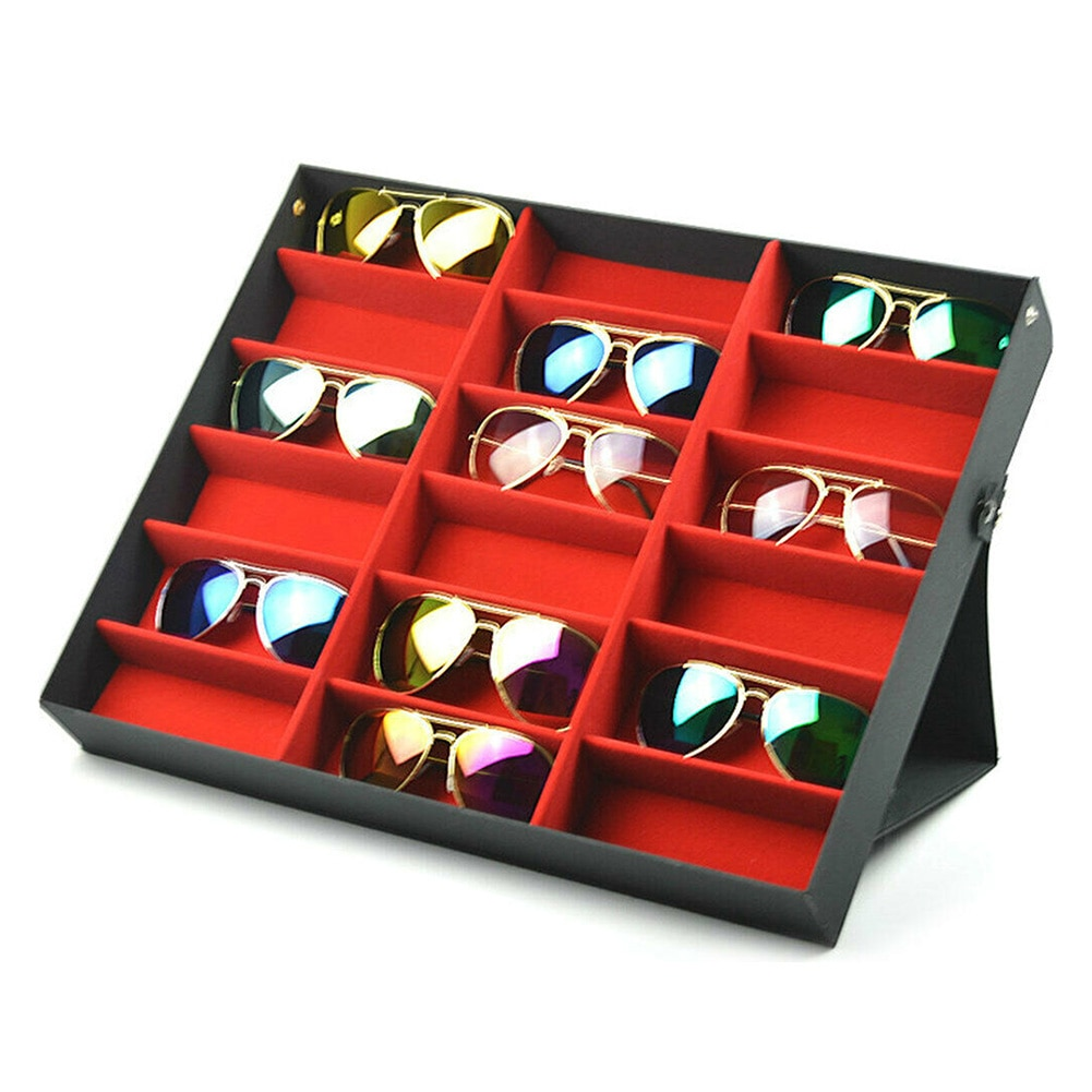 Hot 18 Grids Eyeglass Sunglasses Glasses Storage Display Box Holder Case Organizer PLD