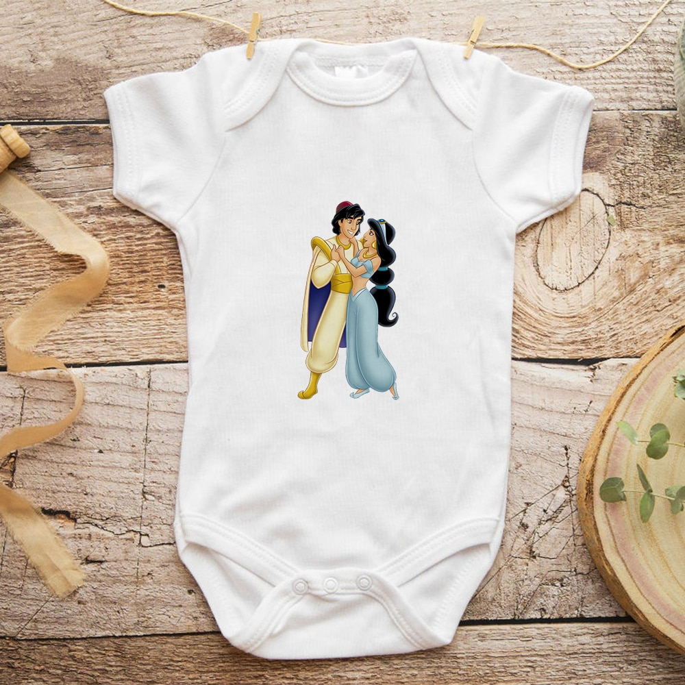 Jasmine Princess Aladdin Prince Baby Girl Clothes Cute Print Vogue One-Pieces Bodysuit for Newborns Dropship Baby Romper