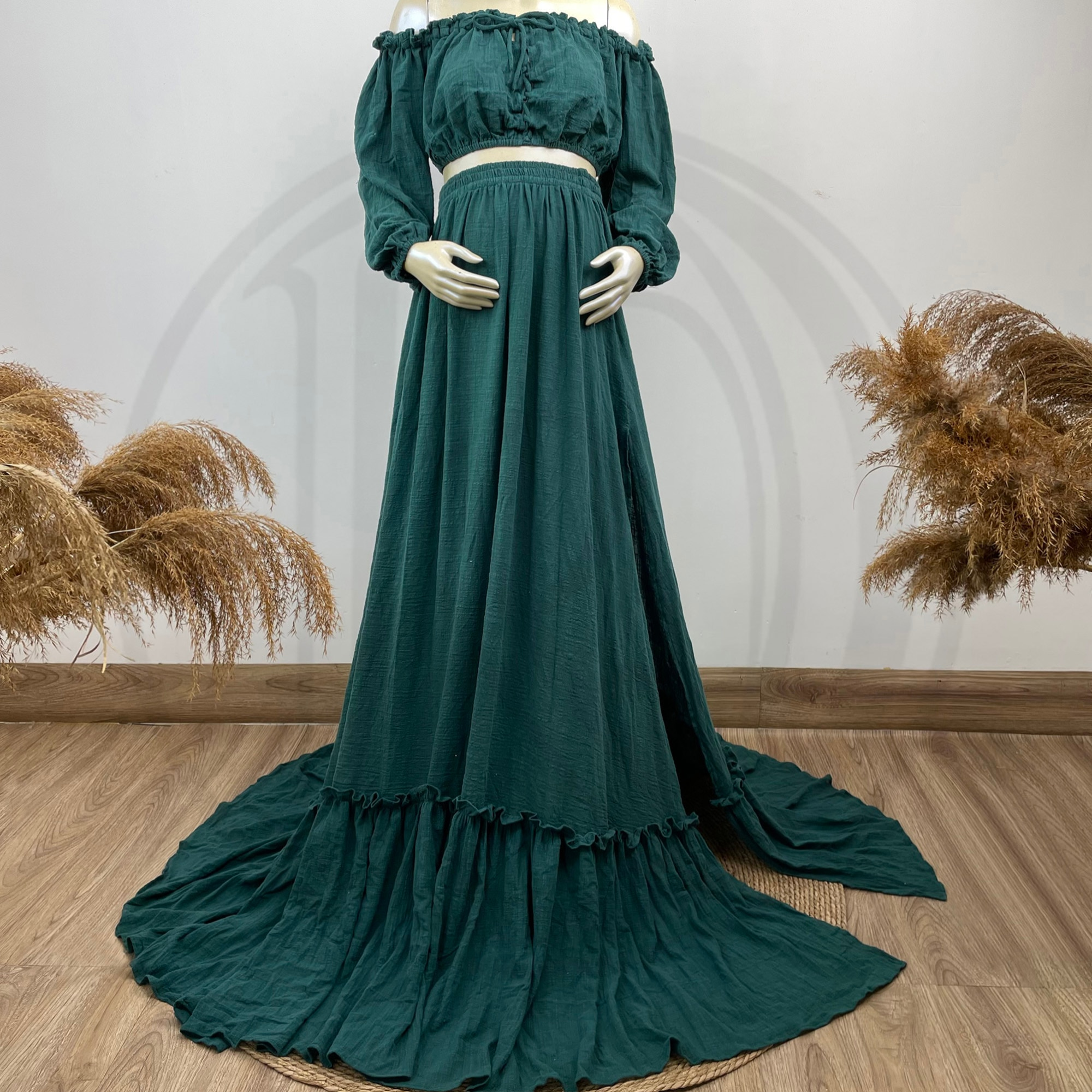 A Set Retro Photo Shoot Cotton Kaftan Full Sleeves Robe Maternity Dress Evening Party Costume for Women Photography Accessories enlarge