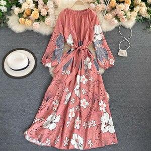 Женское богемное длинное платье с цветочным принтом, Осеннее розовое платье с круглым вырезом и длинным рукавом, милое пляжное платье для отпуска с цветочным принтом и поясом, Новинка