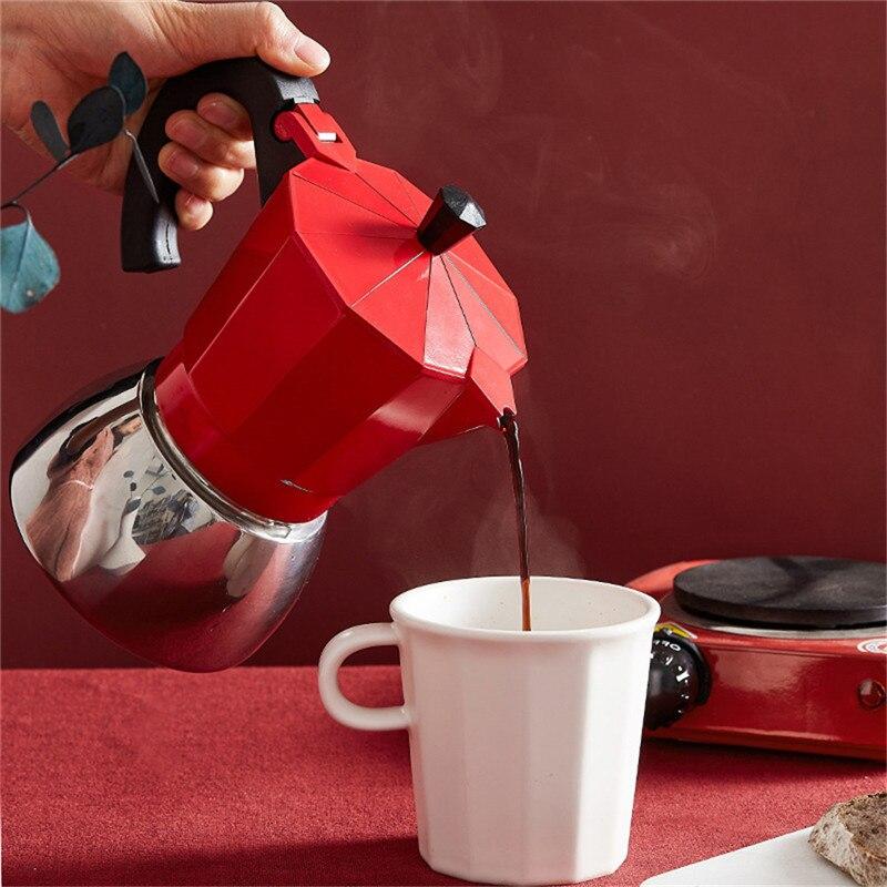 Mocha pote de café de alumínio mocha café espresso pote de café moka pote fogão 3cup / 6cup turco cafeteira despeje sobre café
