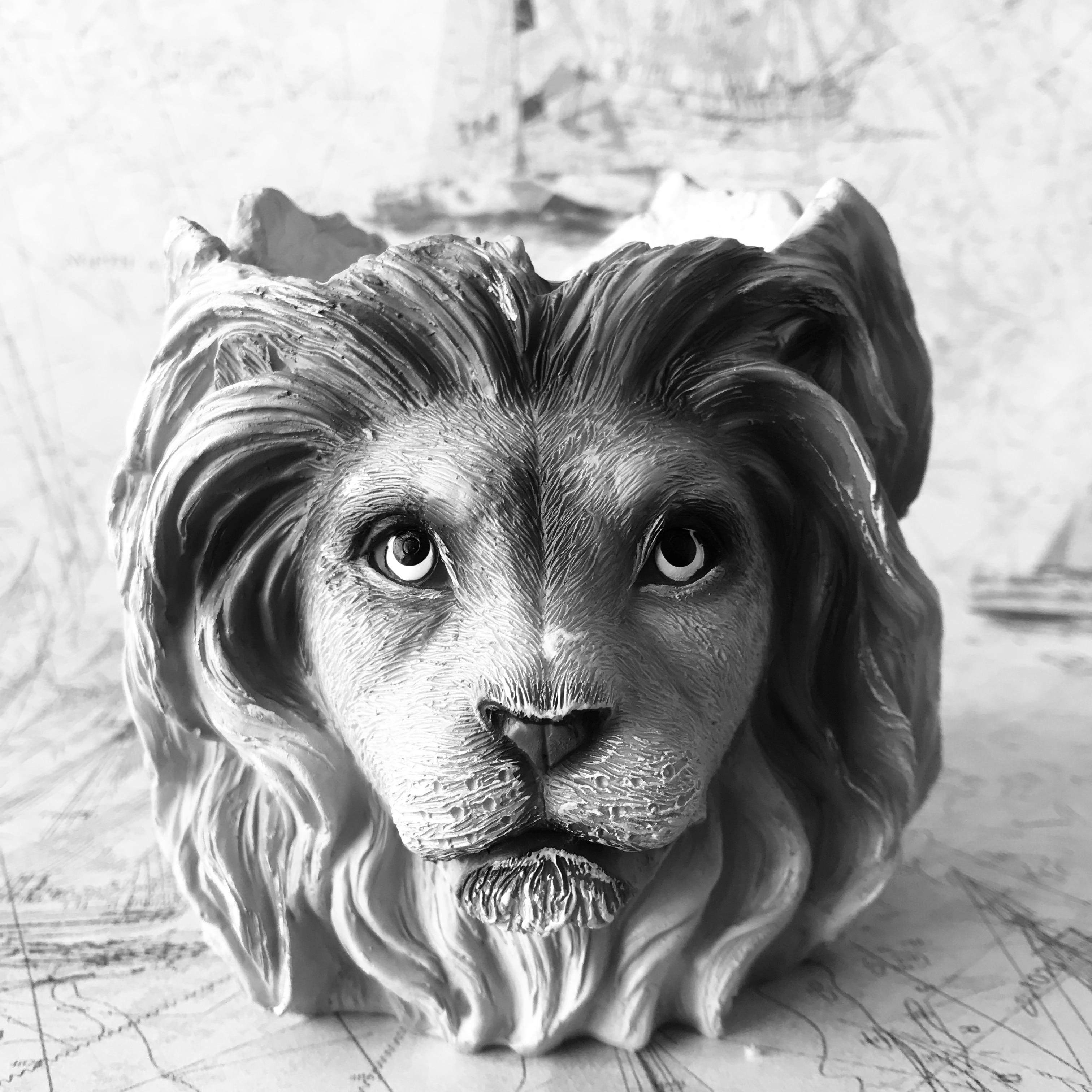 كبيرة 3D الحيوان الأسد سيليكون قوالب للخرسانة زهرة وعاء الغراس صنع DIY Expoy الراتنج الحرفية إناء الجص الطين العفن