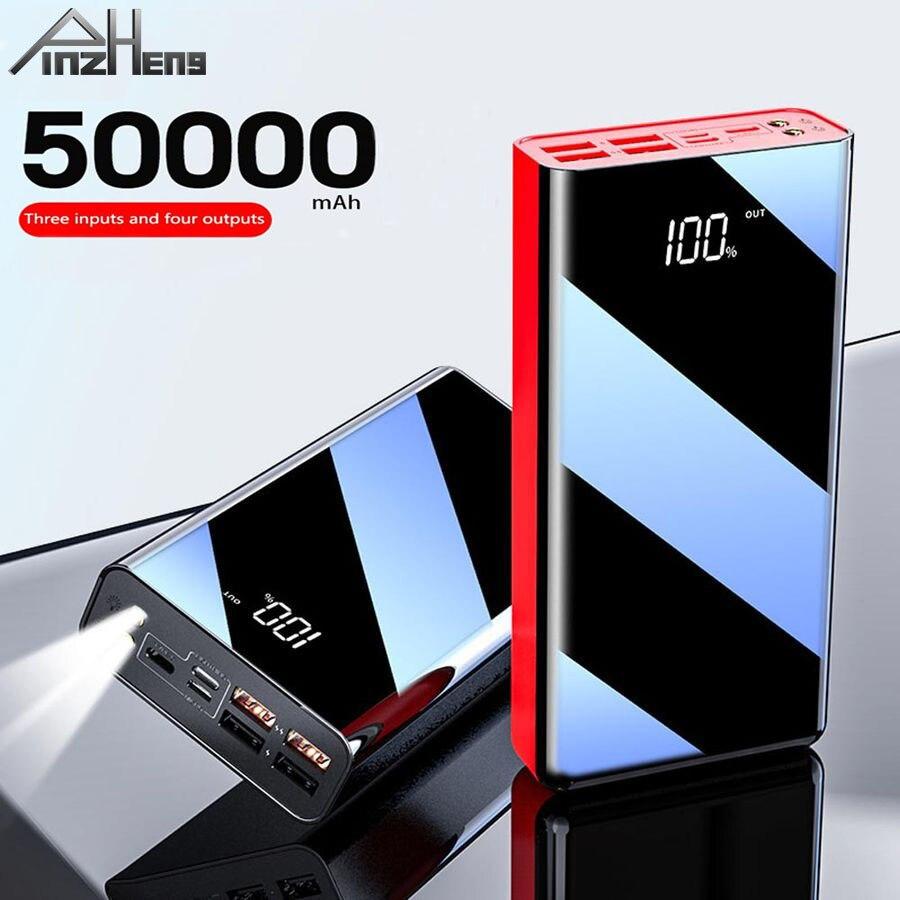 Pinzheng 50000 mah power bank para portátil digital móvel power carregador de bateria externa powerbank para micro tipo-c iphone