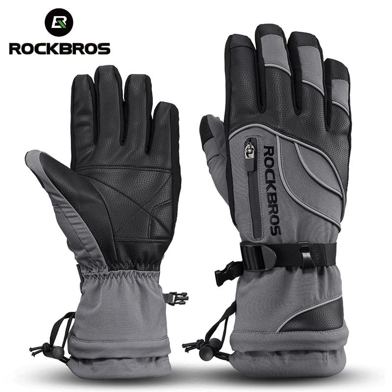 ROCKBROS -40 градусов зимние велосипедные перчатки термальные водонепроницаемые ветрозащитные Mtb велосипедные перчатки для катания на лыжах, походов, снегоходов, мотоциклов