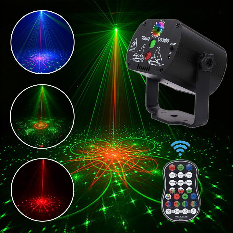 60 modos de led luz de discoteca usb recarregavel laser rgb lampada de projecao sem
