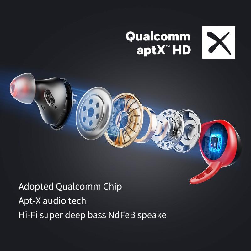 Ture wireless Earbuds apt-X  bluetooth 5.0 earphone IPX7 Waterproof  CVC 8.0 noise reduction 100H Play time enlarge