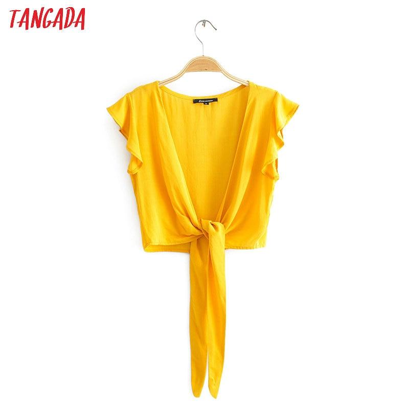 Tangada women retro ruffle white cotton crop blouse sleeveless 2020 summer chic female sexy bow shirt tops JA01