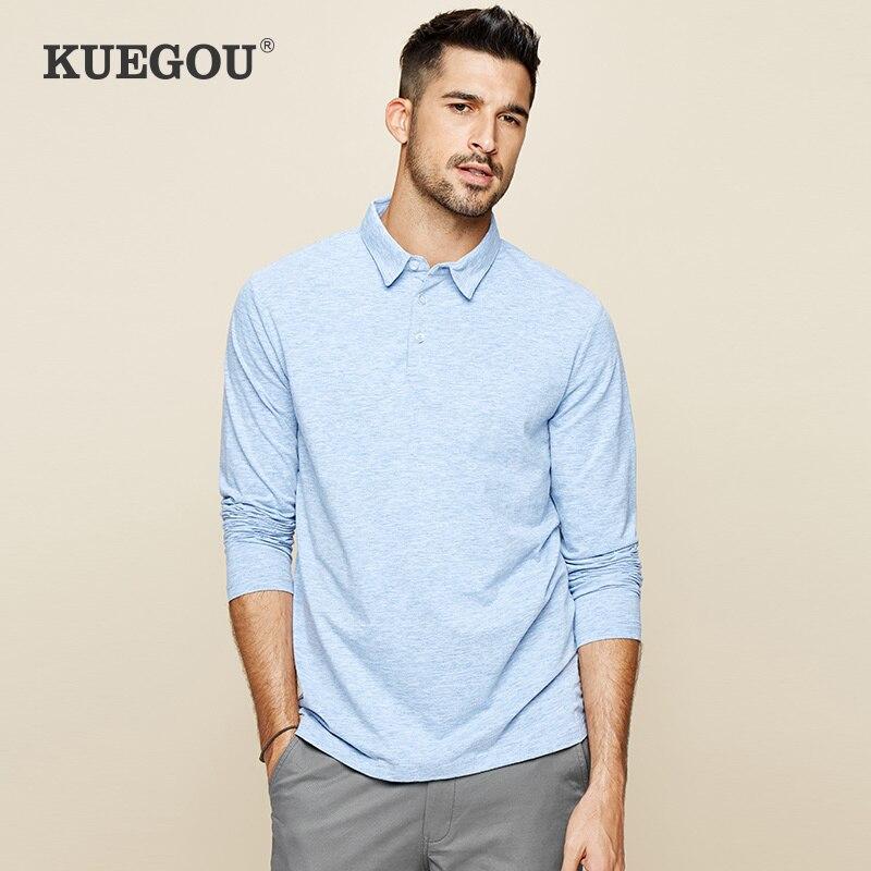 KUEGOU 2020 camisa Polo azul liso de algodón de primavera para hombre, moda de manga larga, Camisa ajustada para hombre, ropa de marca Top 227