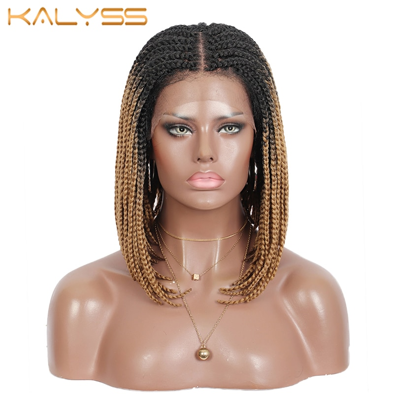 Kalyss 11 بوصة عقدة الدانتيل الجبهة شعر مستعار مضفر براون بوب 4x4 الدانتيل الاصطناعية صندوق الضفائر شعر مستعار مع شعر الطفل للنساء السود