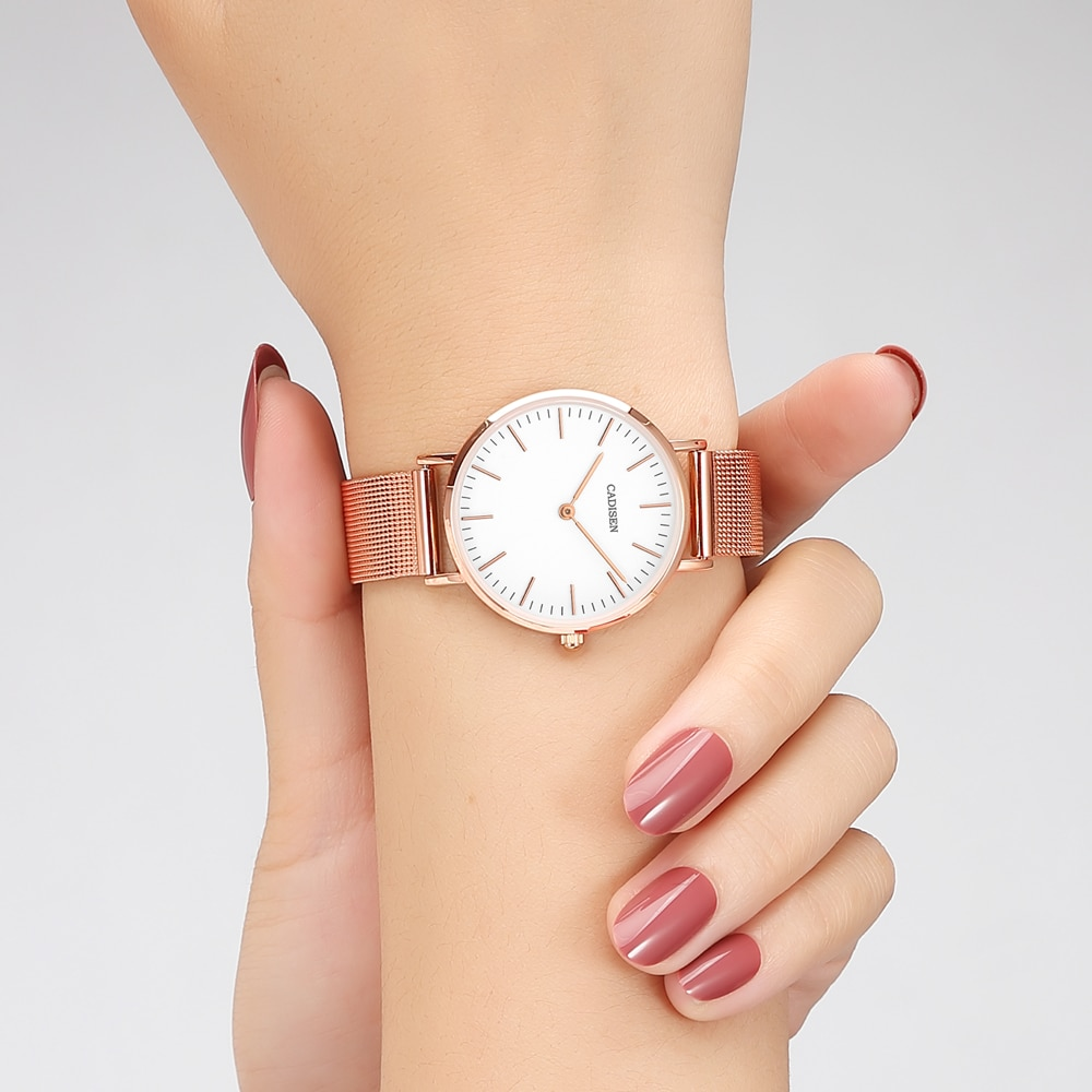 CADISEN Light Luxury Watch For Women's Ultra-thin Stainless Steel Quartz Watch For Ladies Simple And Fashionable 3ATM Waterproof enlarge