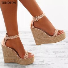 TEMOFON fashion platform sandals wedges shoes for women High heel shoes peep toe summer sandals ankle Strap Ladies Shoes HVT1072
