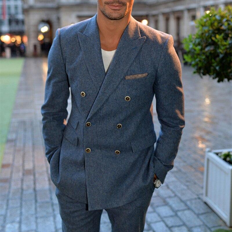 NoEnName nulo último abrigo pantalones diseños azul doble Breasted hombres traje Slim...