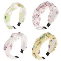 cross knot floral print hairband bezel lace fresh headband for women girls hair accessories ornaments 2021 fashion headwear