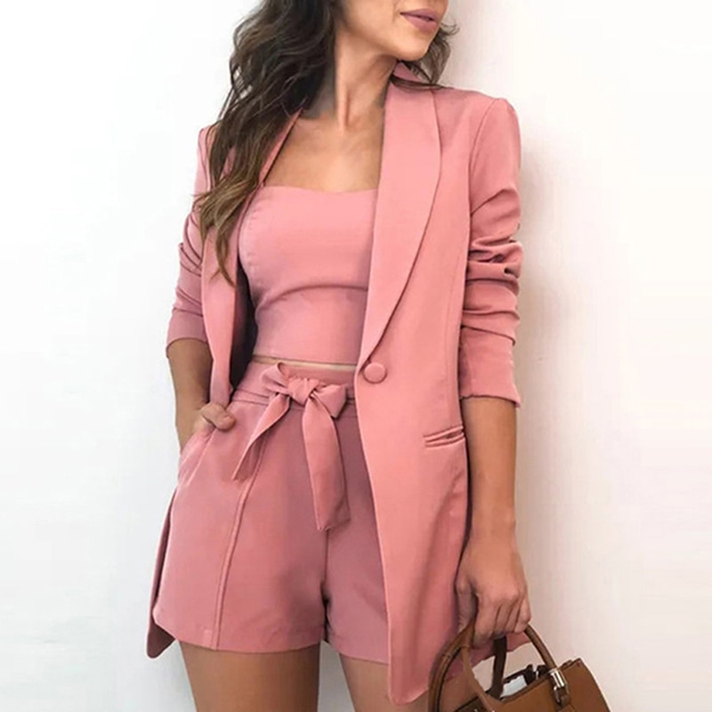 Autumn Explosion Three Piece Sets Women Clothing Office 3 Piece Set Top And Shorts Long Sleeve Cardigan Jacket Suits Blazer