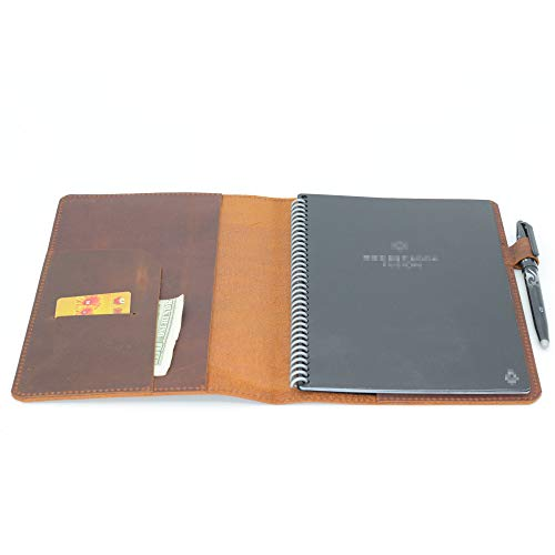 Leather Journal Planner Cover  Business Genuine Leather Notebook Cover with Pen Loop A5 Planner Organizer Wallet