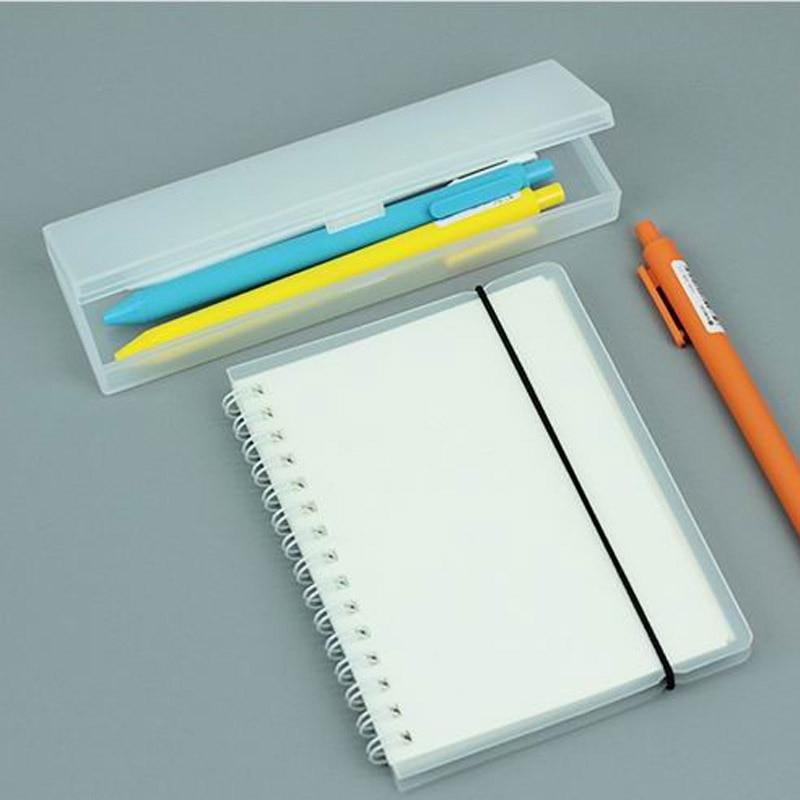 Trousse à outils Simple Transparent rose vert givré stylos à crayons en plastique boîte de rangement papeterie fournitures de bureau