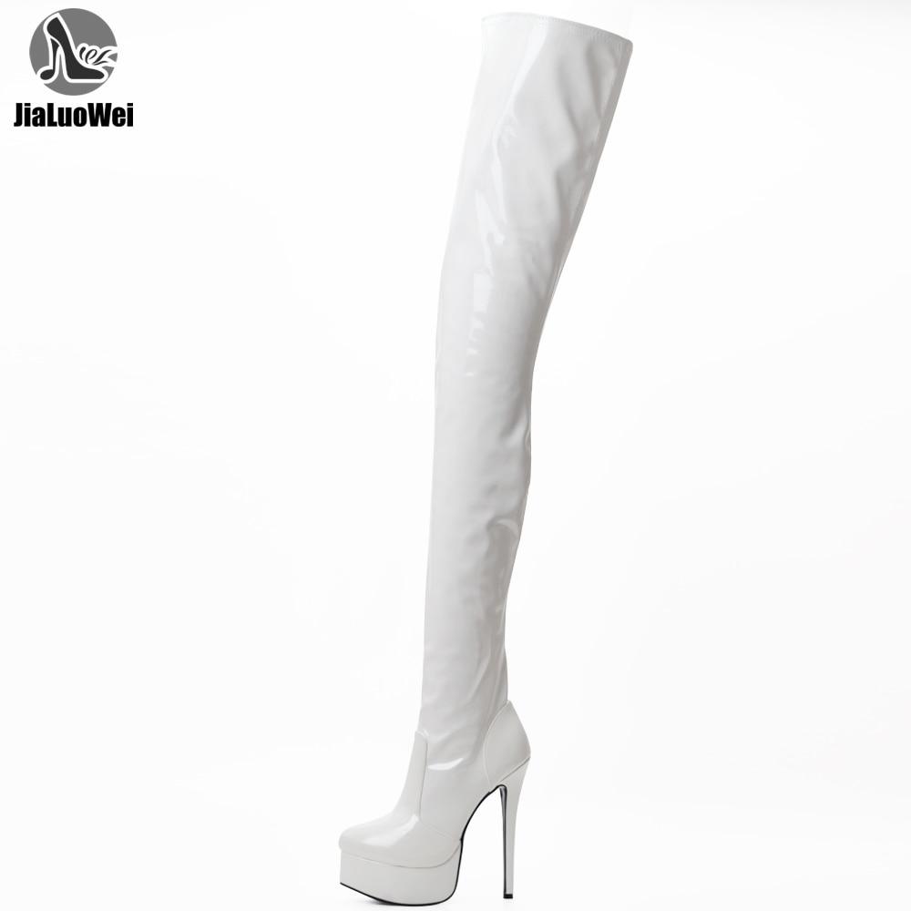 JIALUOWEI حجم 36-46 للجنسين فوق الركبة الفخذ عالية الكعب خنجر منصة تمتد الأحذية