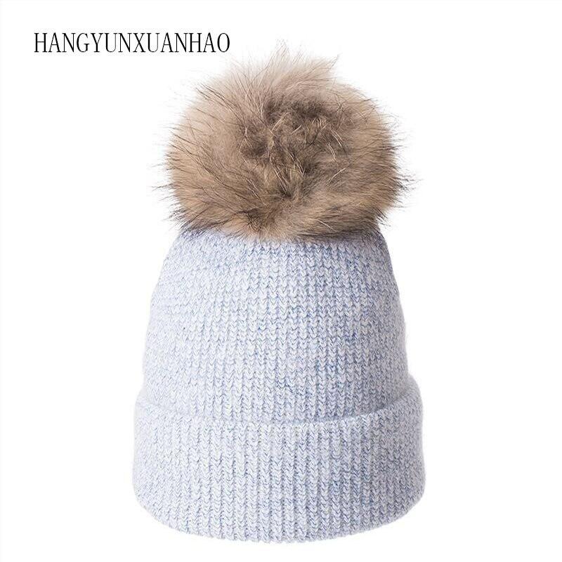 2019 Real Raccoon Fur Ball Cap Pom Poms Winter Hat For Women Rabbit Knitted Beanies Cap Hat Skullies Female Cap