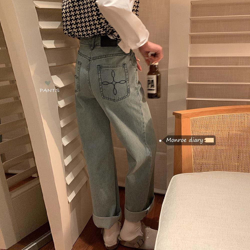 High Waist Denim Wide Leg Pants Women's Design Sense of Spring and Autumn 2021 New Straight Loose Pa