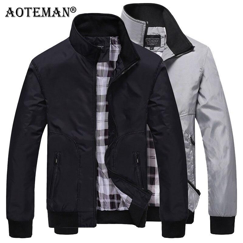Мужская куртка-бомбер, однотонная куртка, Мужская Осенняя верхняя одежда, ветровка, модная мужская весенняя одежда, приталенная Повседневн...