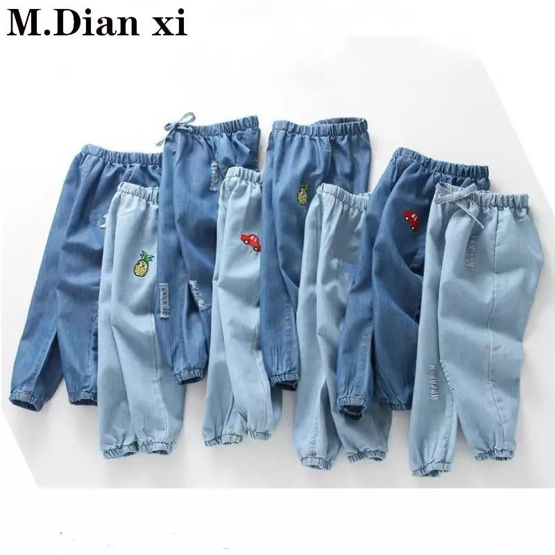 Весна-лето 2019 детские джинсы Boys'Summer противомоскитные брюки тонкие джинсы с вышивкой для девочек От 2 до 6 лет