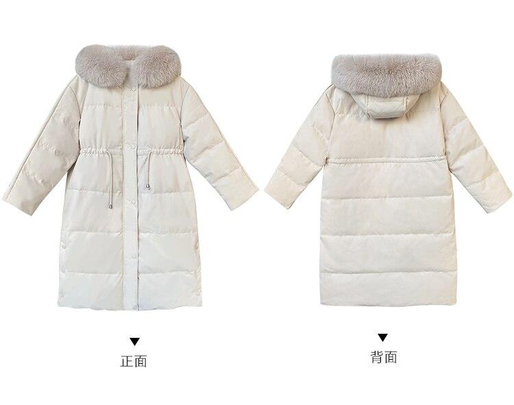 Зимняя куртка с меховым воротником и капюшоном, женские парки, новинка 2021, утепленное длинное пальто, повседневные теплые пальто, синие модн...