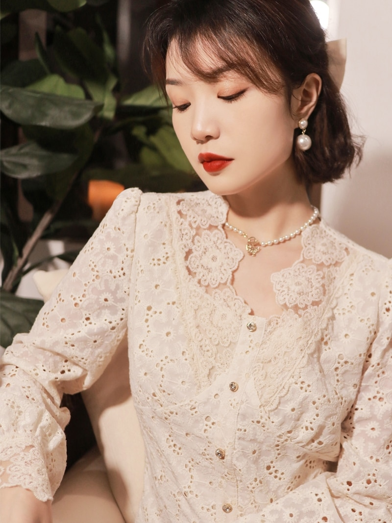 Lace Blouse Elegant Autumn Ruffle Long Sleeve Casual Korean Fashion Clothing Top Koszula Damska Elegancka Blouses BG50BS
