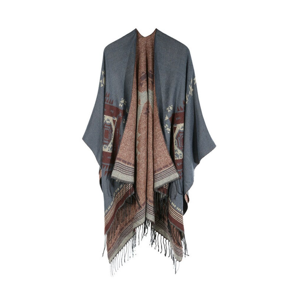 2019 модное женское одеяло с узором, пальто, накидка, уютный платок, пончо, шарф, шаль, зимняя женская длинная с кисточками