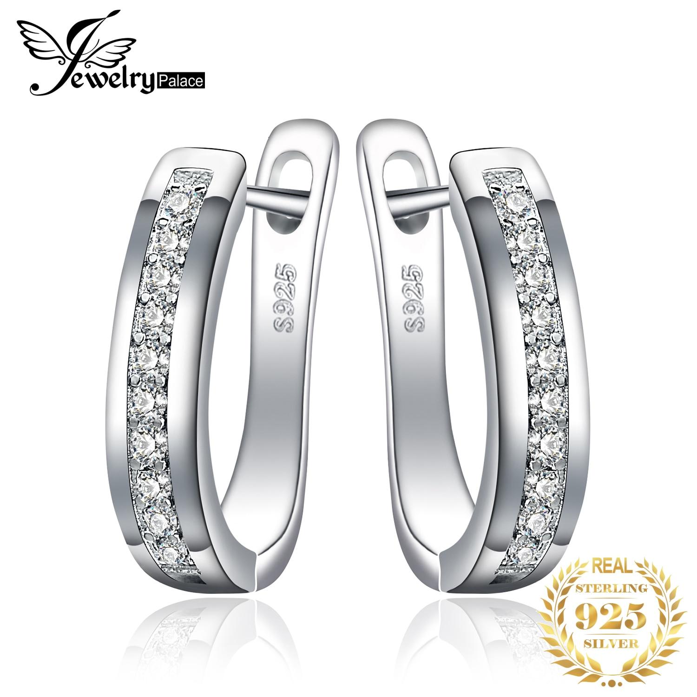 Joyrypalace CZ pendientes de aro 925 pendientes de plata de ley para mujer Canal de la eternidad pendientes coreanos joyería de moda 2020