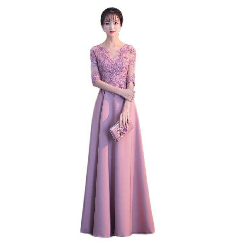 Пыльно-розовое атласное длинное платье подружки невесты с кружевным верхом 2020 официальное с короткими рукавами Вечерние Платья vestidos de fiesta ...