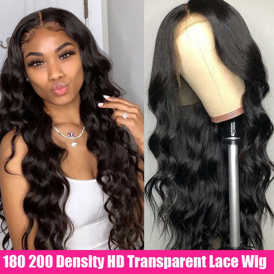 Peluca Frontal de encaje transparente HD, peluca ondulada Invisible, 180 de densidad 200, pelucas de cabello humano Remy brasileño