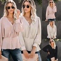 2021 new blouses women v neck long sleeve pink shirt female casual slim button up fashion tops elegant