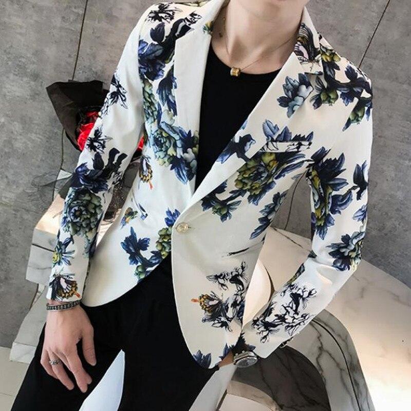Мужской пиджак высокого качества 2021, Мужской приталенный модный пиджак с принтом ласточки, мужской деловой костюм для отдыха, весенние блей...