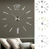 large size modern 3d wall clock diy creative living room modern personality art frameless digital wall clock room decoration