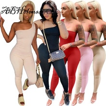 A&BHelenss Fashion Simple Pure Color Strapless Sleeveless Skinny Jumpsuits Sexy Tight Club Party She