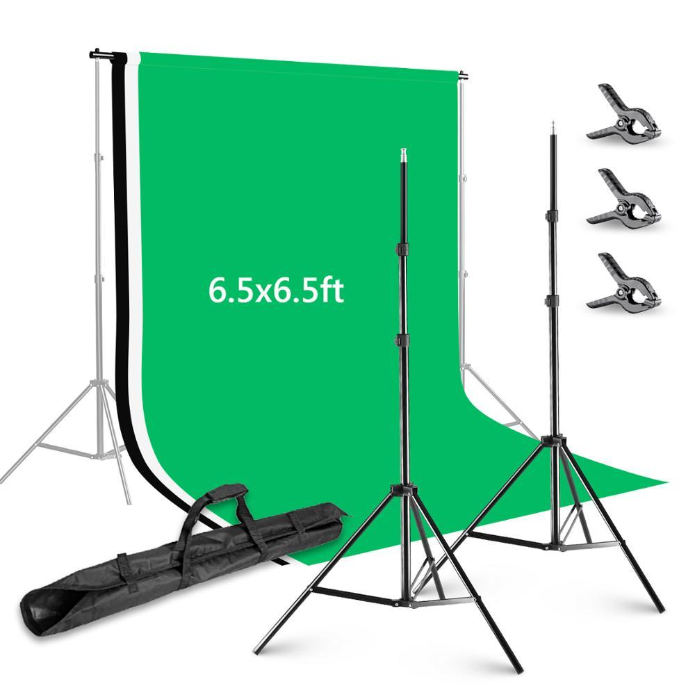 Neewer 6,5x6,5 füße/2x2 meter Hintergrund Stehen Unterstützung System mit 6X9 füße/ 1,8X2,8 meter Hintergrund und Hintergrund Schellen