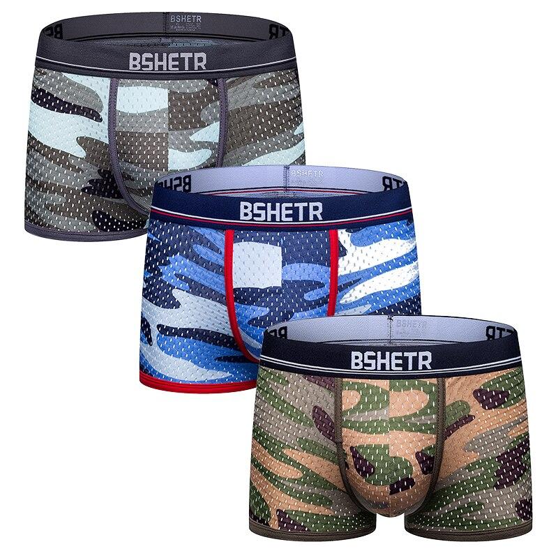 3 piezas / paquete Ropa interior masculina boxers Recién llegado BSHETR 2020 Camuflaje calzoncillos masculinos de malla bragas transpirables pantalones masculinos suaves